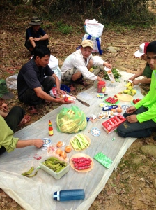Preparation for lunch by the river