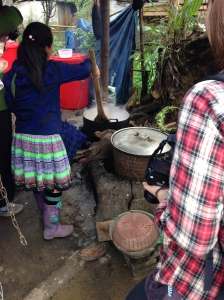 Stirring the rice wine